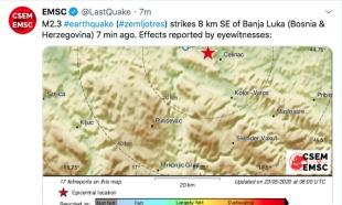 Zemljotres u Banjaluci: Podrhtavanje tla osetilo se u više naselja