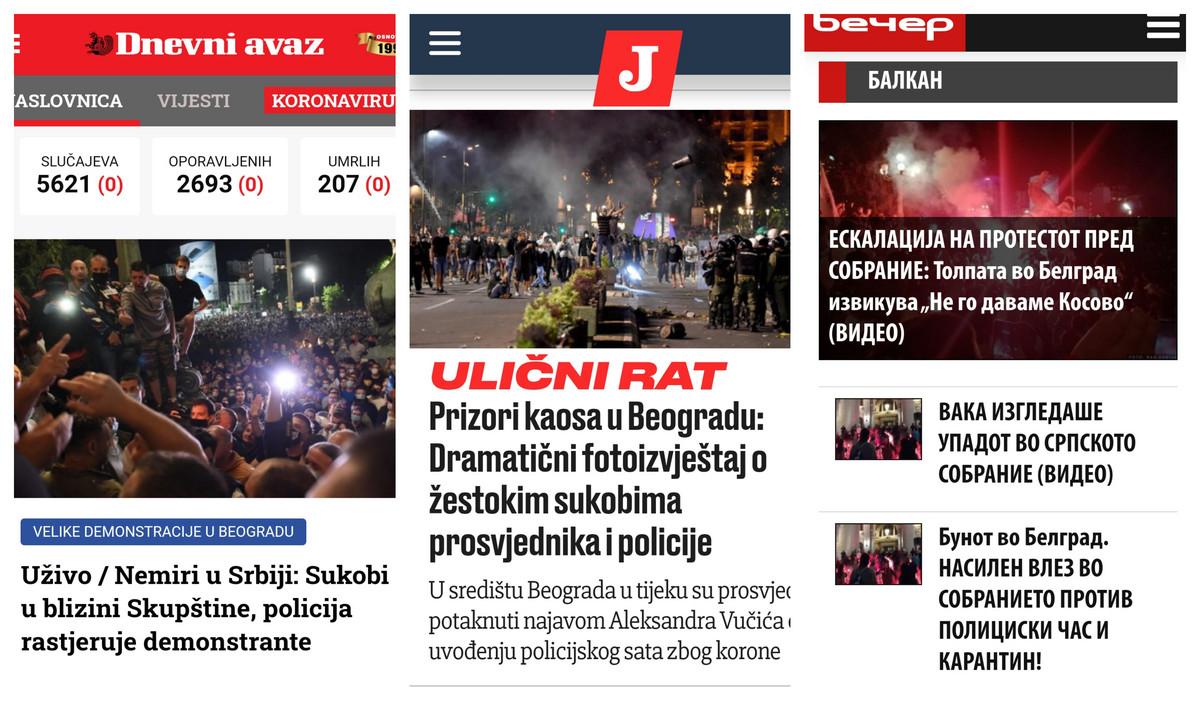"""""""ULIČNI RAT"""", """"DRAMA U BEOGRADU""""... Evo kako su mediji sa prostora eks Jugoslavije videli proteste u srpskoj prestonici"""